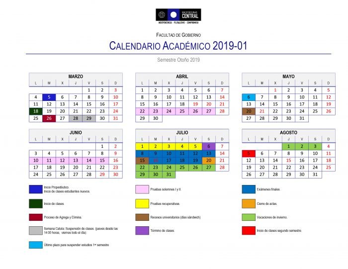 Calendario Chile 2019.Ya Esta Disponible El Calendario Academico Para El Periodo